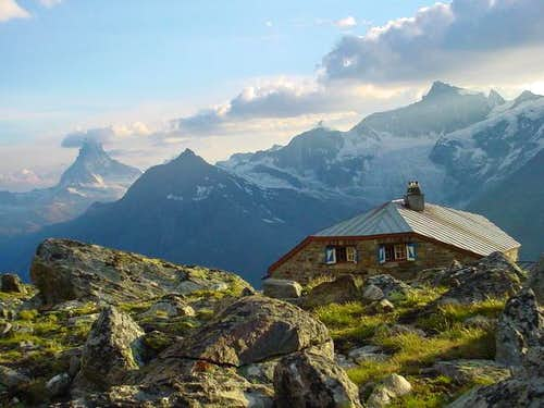 Dom hut, 2940 m, view to...