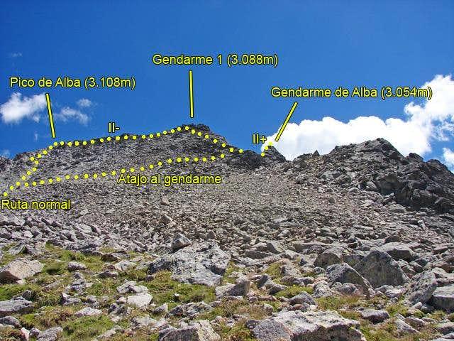 Alba and route to Gendarme de Alba