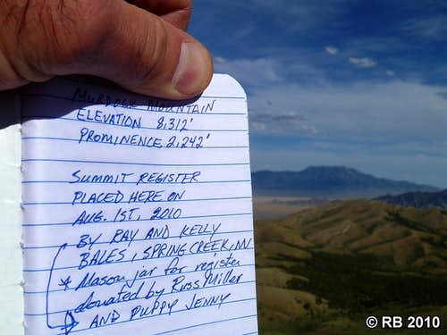 Murdock Mountain summit register