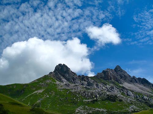 Clouds above Auenfelder Horn (2292m) north of the Hochtannberg pass