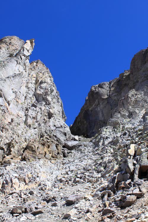 Loose scree in the gully