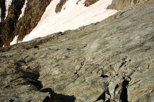 "The ""Knife Edge"": looking down Dead Dog Couloir"