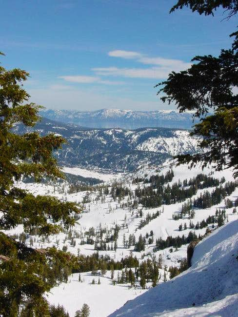 View east to Lake Tahoe while...