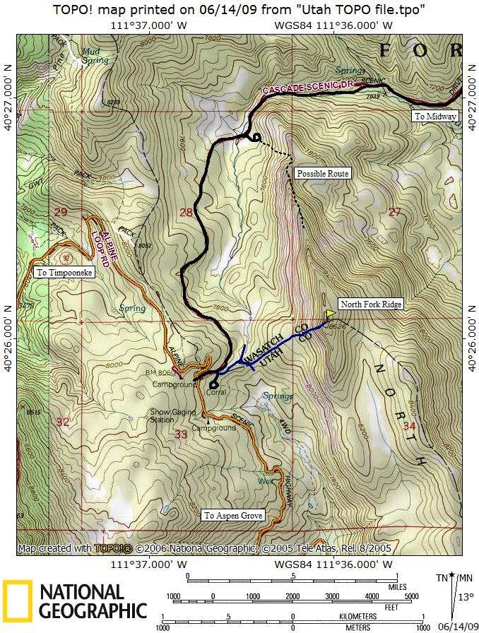 North Fork Ridge Map