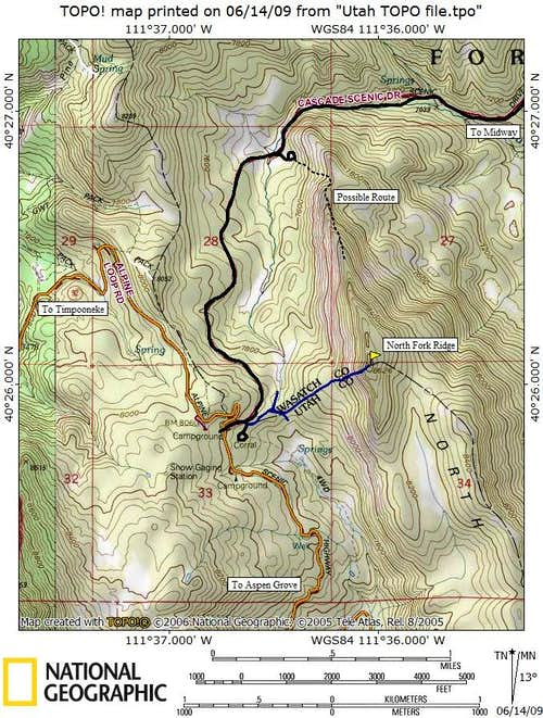 North Fork Ridge Map