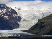 The glacier, Falljökull. The...
