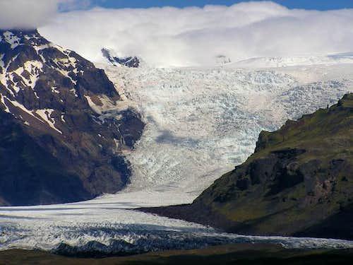 The glacier, Falljökull. The...