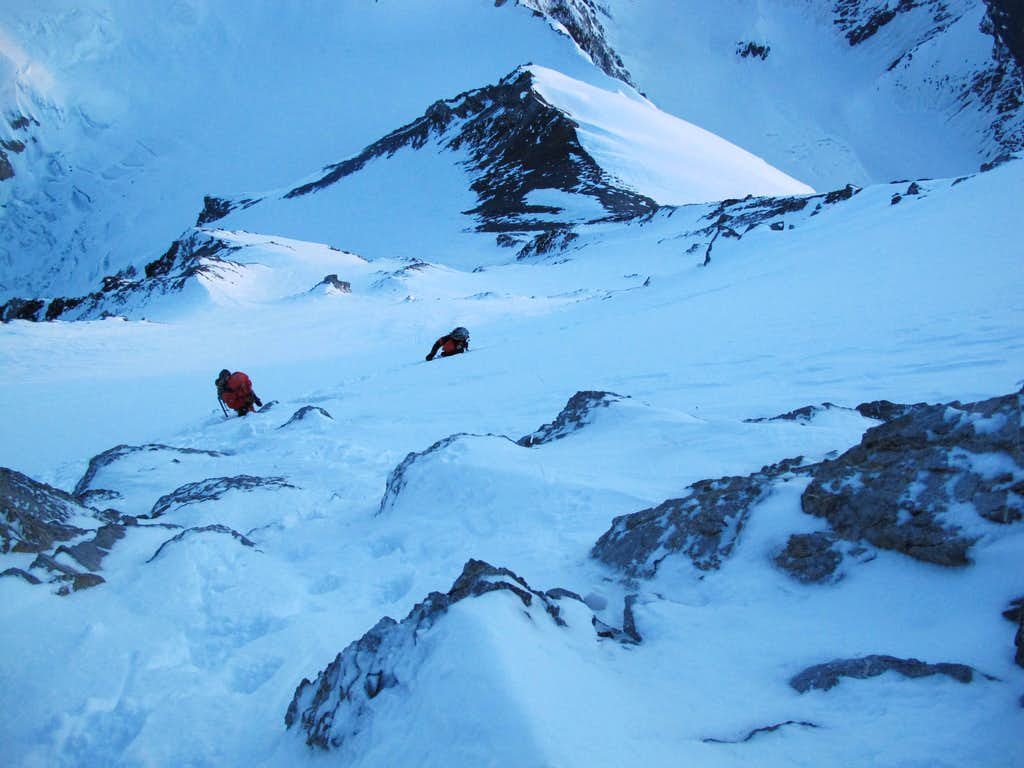 Libor and Radek below summit ridge.