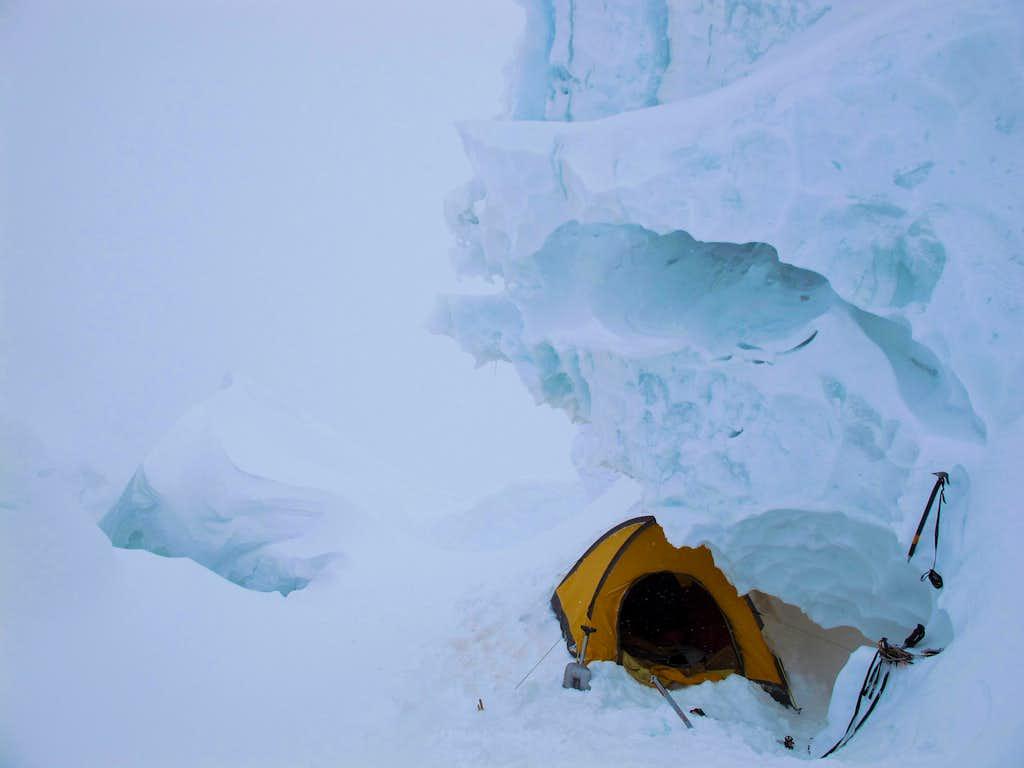 Serac above, crevasse below. Camp 2 on GI.