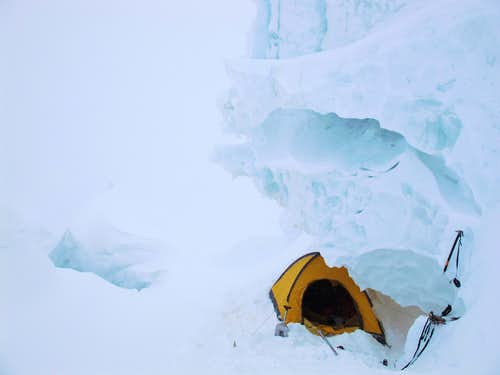 Serac above, crevasse below. Camp 2 on GI.