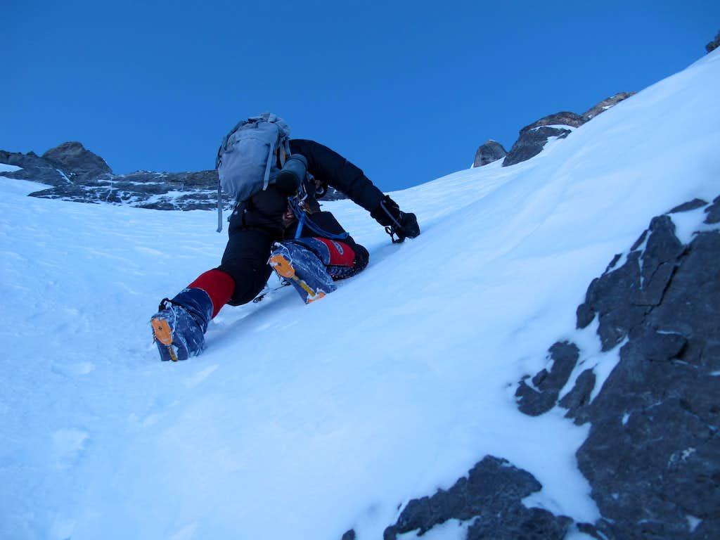 Don Bowie at 26,000ft, below west ridge. Photo: Radek Jaros