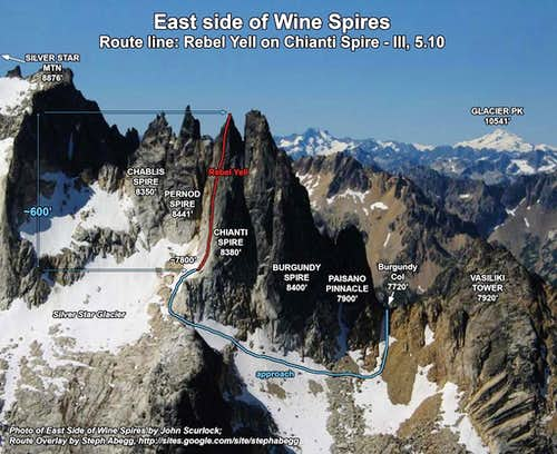 Wine Spires from the East, photo overlay of Rebel Yell