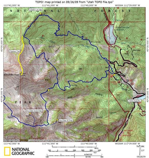 Box Elder Peaks Map