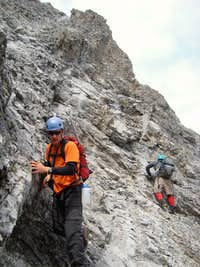 Descending the crux on Mt. Storelk