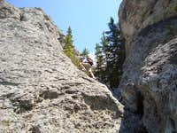 Scrambling in the approach drainage on the West Summit of Mt.Baldy