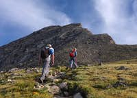 Climbers on the approach