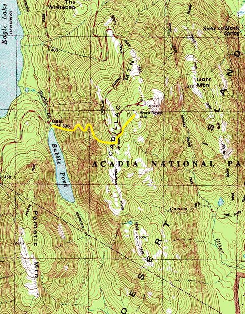 Cadillac West Face Trail Route Map