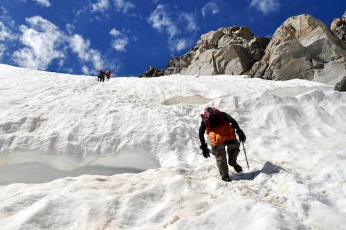 Snowbridge over bergschrund