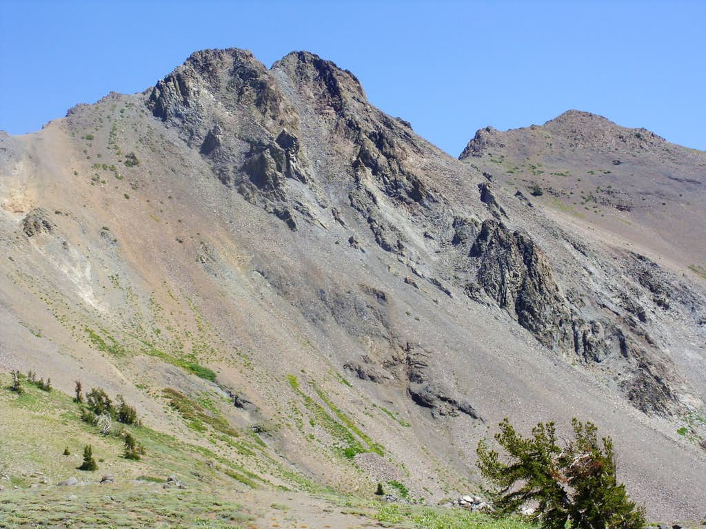 The Sisters viewed from the descent of Fourth of July Peak