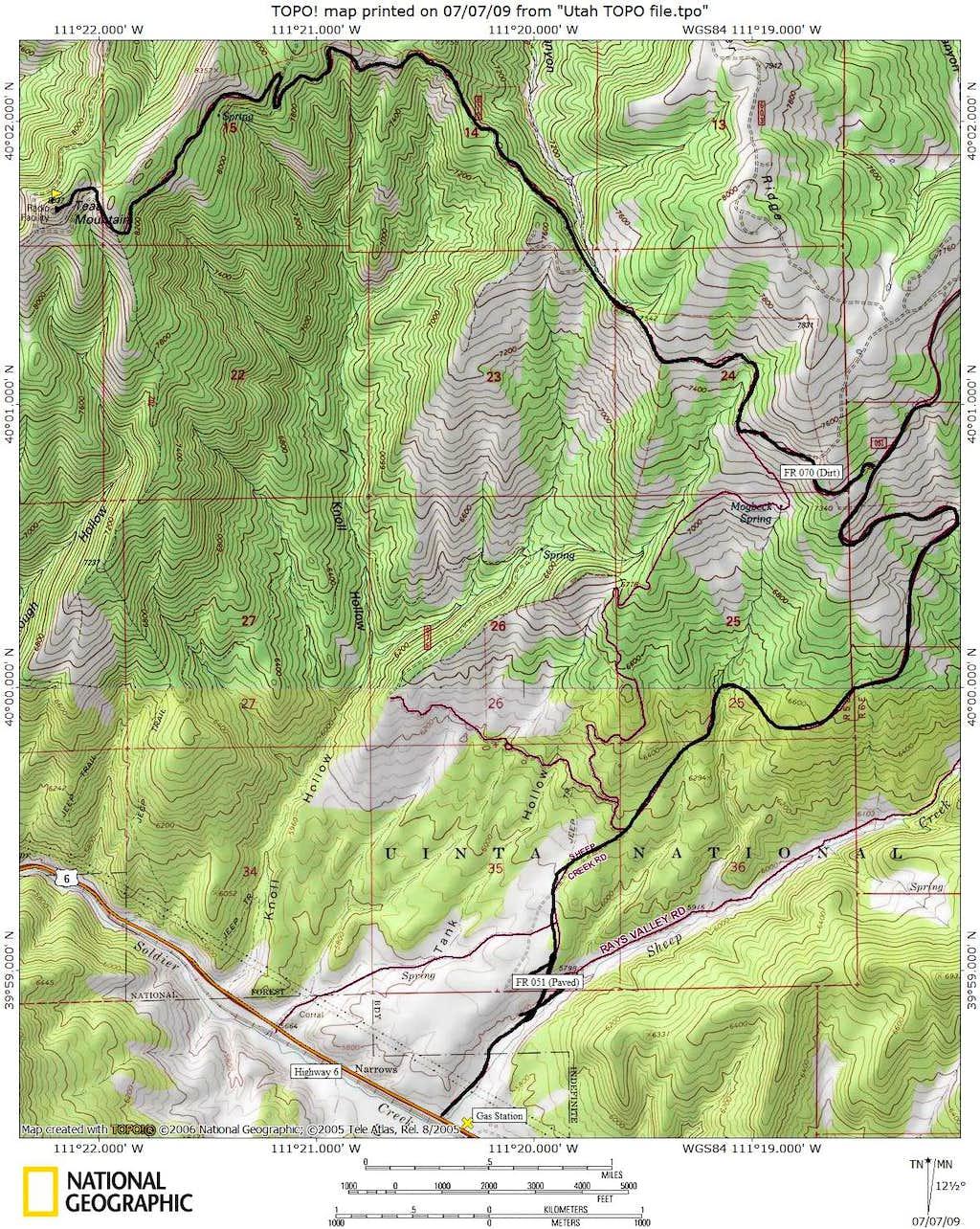 Teat Mountain Map