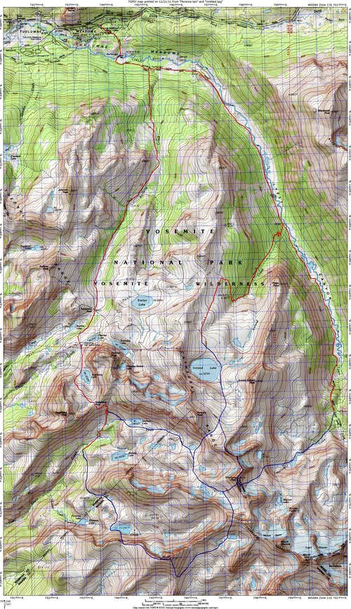 Mount Florence and Simmons Peak Route Map