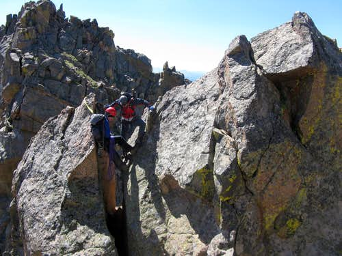 Chimney descent on Partner Traverse