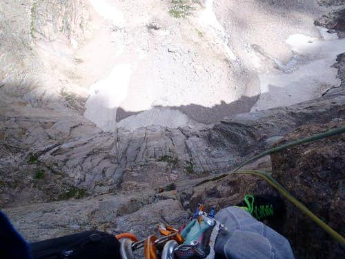 Looking down from the Crux Pitch