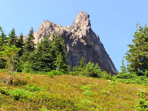 The summit pinnacles from a...