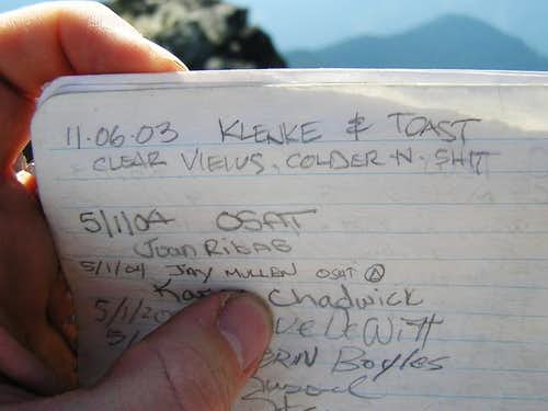 I open up the summit register...