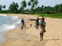 Pygmies on the Beach near Kribi