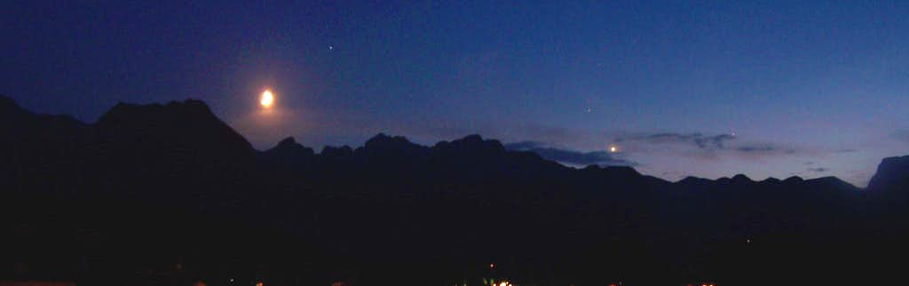 Durmitor at night with the Moon and Venus