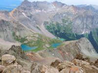 View of blue lakes from Sneffels summit