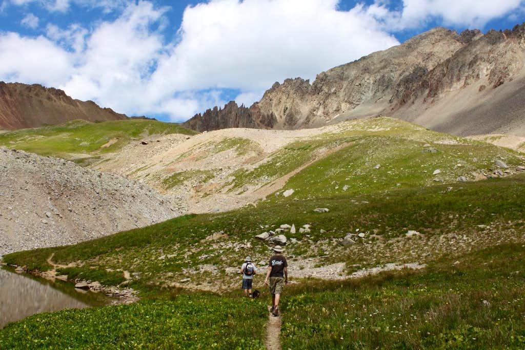 Walking towards Blue Lake pass