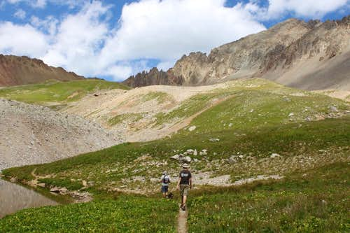 Walking towards Blue Lake pass