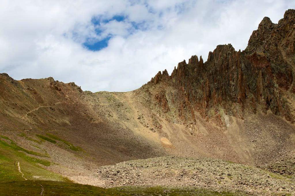 Trail towards Blue Lake pass