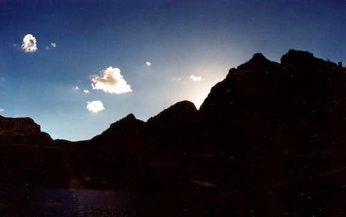 Gabbro Peak above Green Lake at dusk, Hoover Wilderness