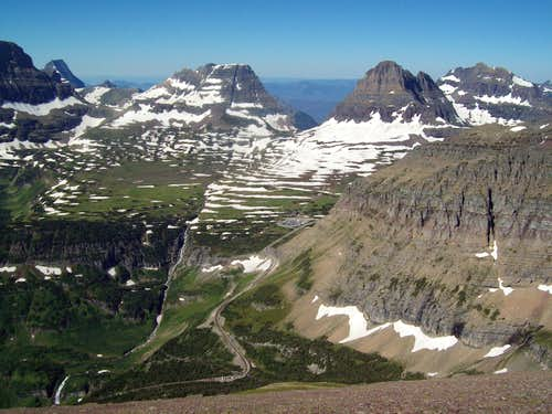 Logan Pass from Slopes of Piegan Mountain