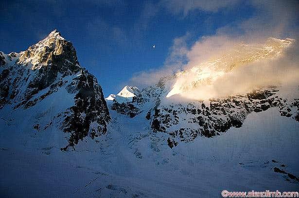 Ushba icefall, Russian side, Peak Shurovskogo on the left