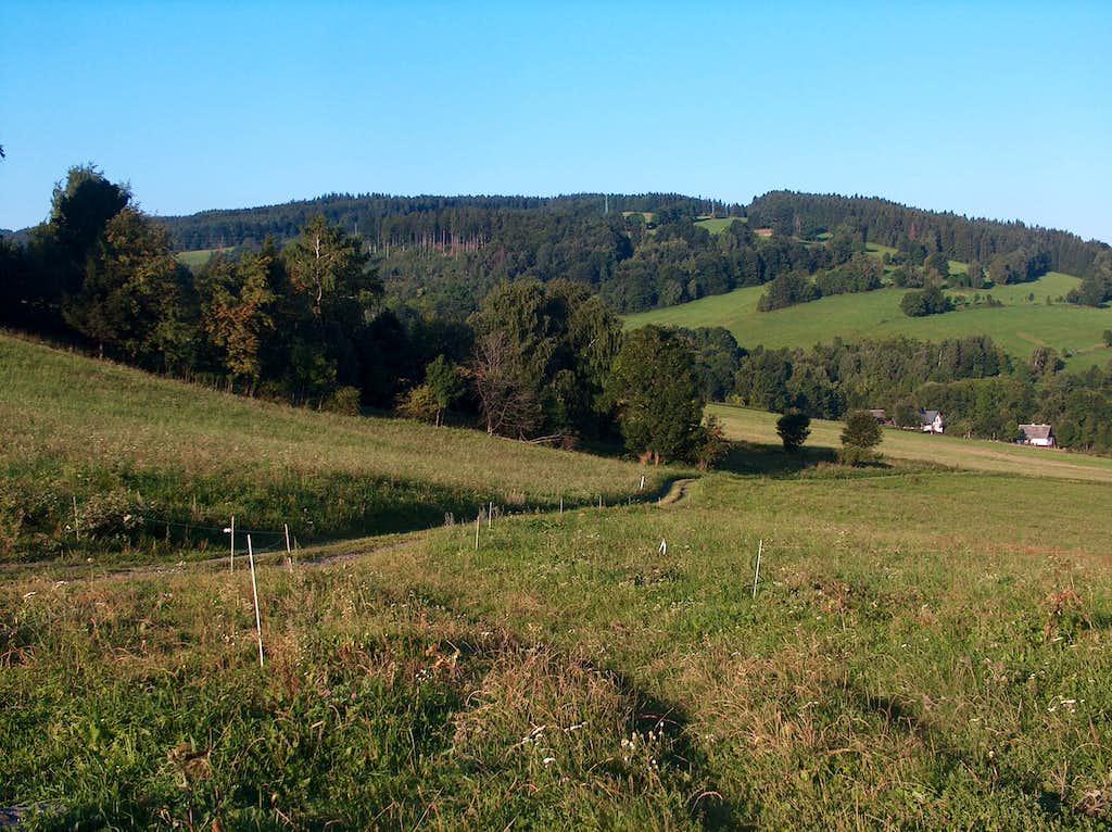 Hilly landscape below Rejvíz