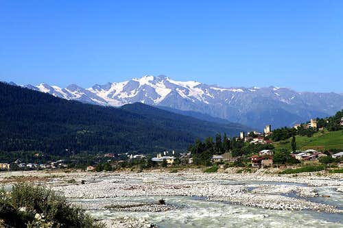 View of Layla from Svanetian town Mestia