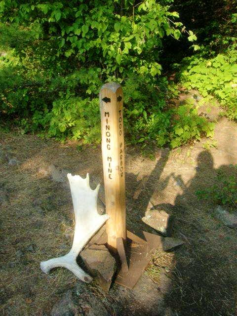 Moose antler and Minong Mine Trail Sign