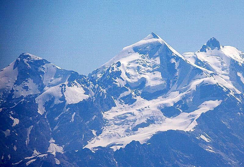 Tetnuld in Bezengi massif as seen from Layla