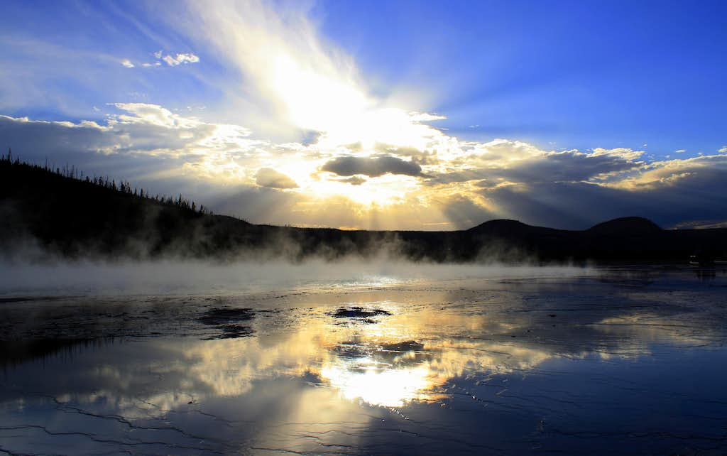 A prehistoric sunset at Yellowstone?