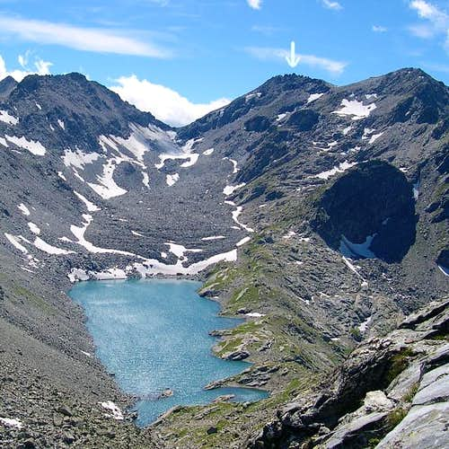 Mont Colmet (arrow) and Lake...