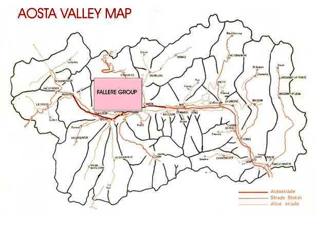 Map of Aosta Valley; in pink,...