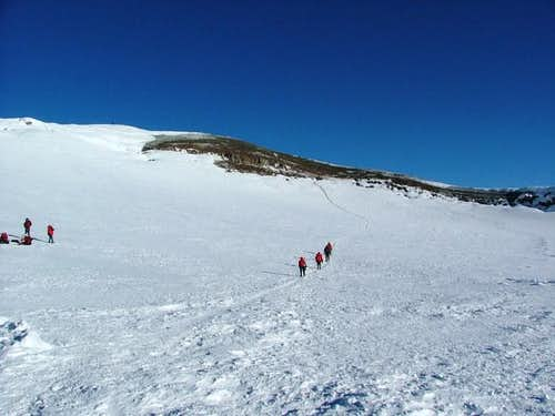 Climbers heading across the...