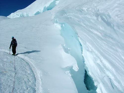 Andrea next to a crevasse on...