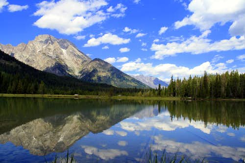 A reflection of Mount Moran off of String Lake