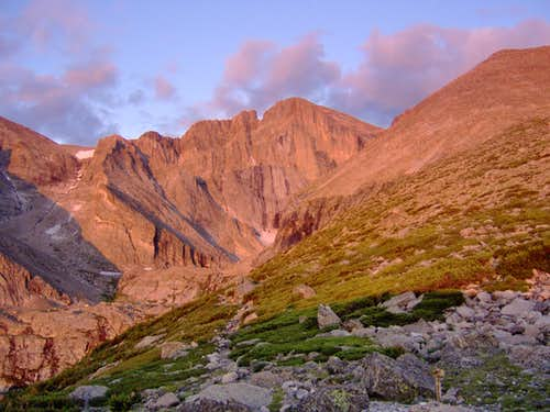 Alpenglow on Longs Peak