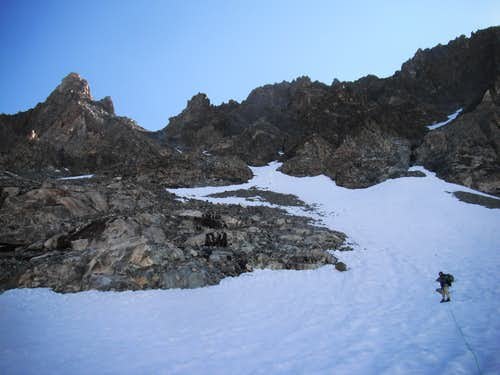 Snow leading to Couloir Gannett